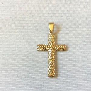 14k Open Weave Cross Pendant